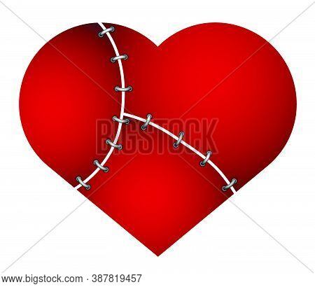 Broken Heart With A Wound Sewn Up With Wire. Problems In Family Relationships, Treason. Divorce Of A