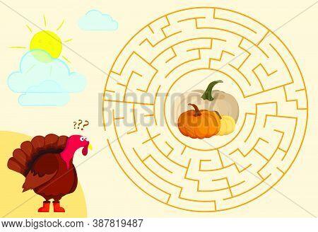 Children Games. Round Maze, Labyrinth. Hungry Turkey. Help The Turkey Find Its Way Through The Maze