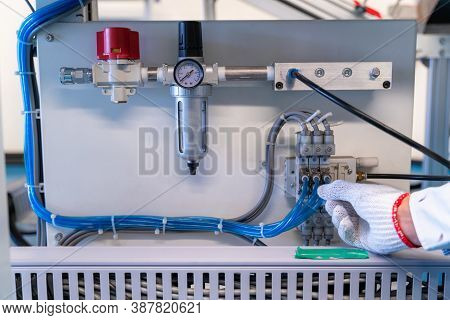 Pneumatic Control Valve In A Steam Heating System Of Conveyer In Industrial Factory.