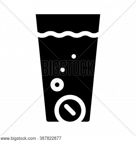 Water Glass Filtration Tablets Glyph Icon Vector Illustration