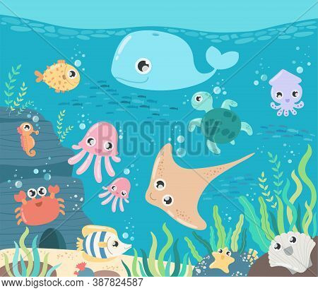 Fish And Wild Marine Animals In Ocean. Sea World Dwellers, Cute Underwater Creatures, Coral Reef Inh