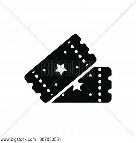 Black Solid Icon For Ticket Pass Raffle Event-pass Sticker Voucher Talon Coupon Entry Cinema Concert