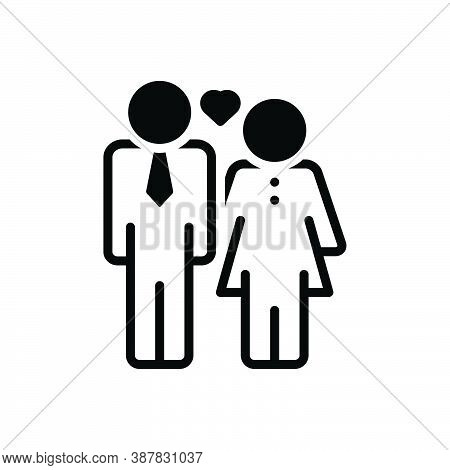 Black Solid Icon For Husband Spouse Man Partner Yokefellow Hubby Married-man Couple Woman