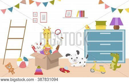 Kids Toys In Boxes. Playroom Kids  In Nursery.baby Room Interior. Cartoon Childrens Room With Kid To