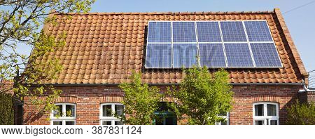 Solar Panel(solar Cell) With The Cloud On Sky, Solar Energy Panel Photovoltaic Cell, Hot Climate Cau