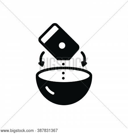 Black Solid Icon For Mixture Soup Combination Pour Bowl Product Blend Admixture