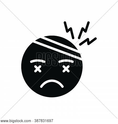 Black Solid Icon For Stress Tension Brain Frustrated Strain Anxiety Headache Person Tension Depressi