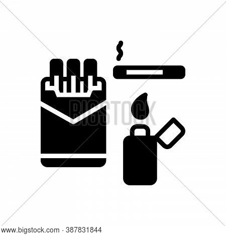 Black Solid Icon For Cigarette Fag Smoke Lighter Fume Tobacco Unhealthy Cancer-stick