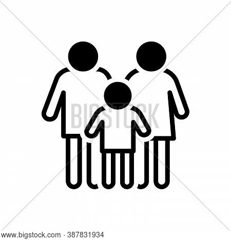 Black Solid Icon For Conventional Traditional Typical Ordinary Family Person Member
