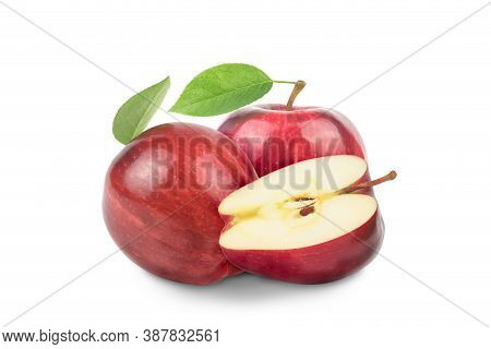 Ripe Red Apple Fruit With Apple Half And Green Apple Leaf Isolated On White Background. Apples And L