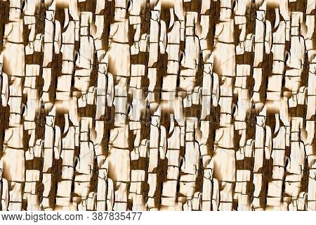 Material Texture. Beige Paint Marble Surface. Retro Dry Fence. Rustic Tree Wallpaper. Brown Natural