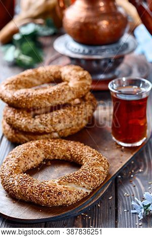 Freshly Baked Simit Baked Goods With Sesame Seeds Close-up (turkish Bagel - Gevrek Or Kuluri). Tradi