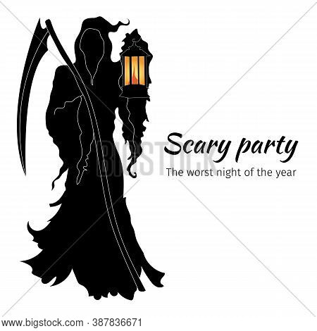 Black Silhouette Of Death With A Scythe And A Lantern. Halloween Banner With Scary Party Vector Illu