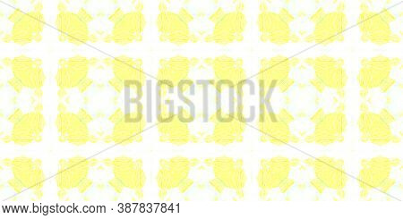 Seamless Aquarelle Pattern. Water Colour Tile Design. Yellow, Green And White. Abstract Aquarelle Ti