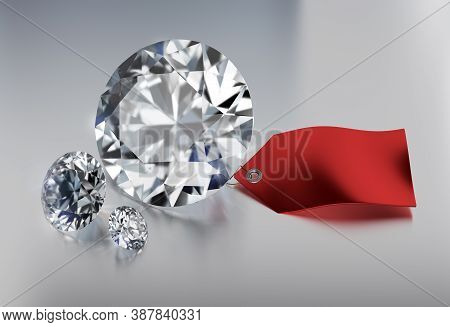 Discount On Diamonds. Three Diamonds On Shiny Background With Discount Label. 3d Image. White Backgr
