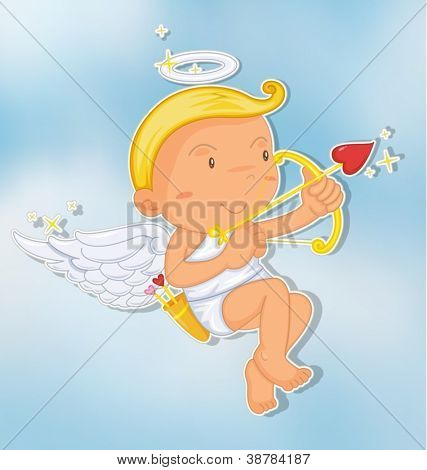 illustration of an angel in a beautiful sky
