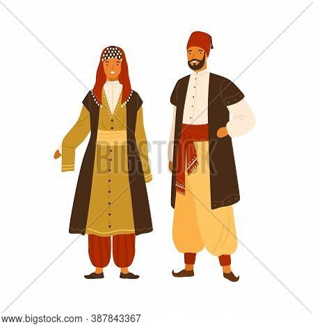 Turkish Man And Woman In National Costume Vector Flat Illustration. Traditional Turkey Couple In Fol