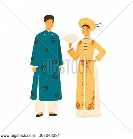 Smiling Vietnam Couple In National Costume Vector Flat Illustration. Asian People In Traditional App