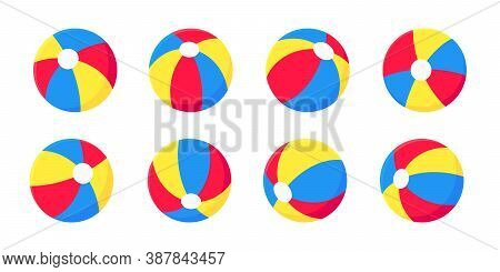 Bouncing Inflatable Beach Ball Flat Style Design Vector Illustration Collection Set Isolated On Whit