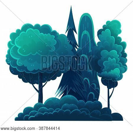 Night In Forest, Vector Cartoon Illustration. Tall Trees, Fir Trees And Lush Bushes Isolated On Whit