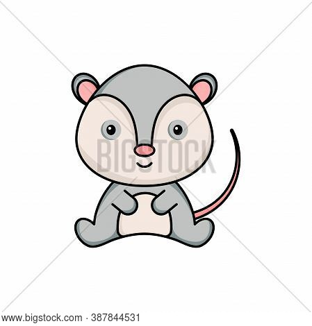 Cute Business Opossum Icon On White Background. Mascot Cartoon Animal Character Design Of Album, Scr