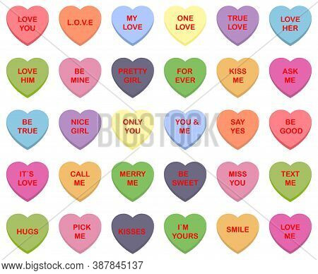 Sweet Candy Hearts. Mini-candies, Talk About Sweets For Valentine's Day, Dishes From Sugar Hearts. S