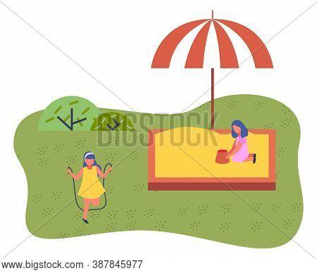 Happy Cartoon Kids Playing In Playground On The Backyard. Childrens Summer Playground With A Sandbox
