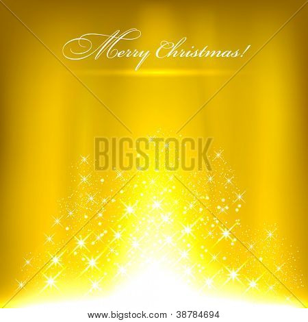 Glowing yellow background with stars. Vector eps10.
