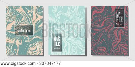 Trendy Marble Prints, Vector Cover Design Templates. Fluid Marble Stone Texture Iinteriors Fashion M