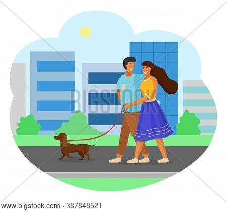Married Couple Walking With Dog On City Street. Woman In Yellow Blouse And Blue Skirt Holds Leash, M