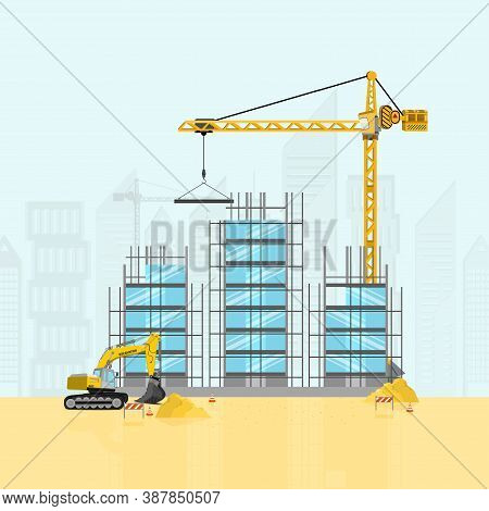 Buildings And Special Equipment At The Construction Site. Construction With Construction Crane And E