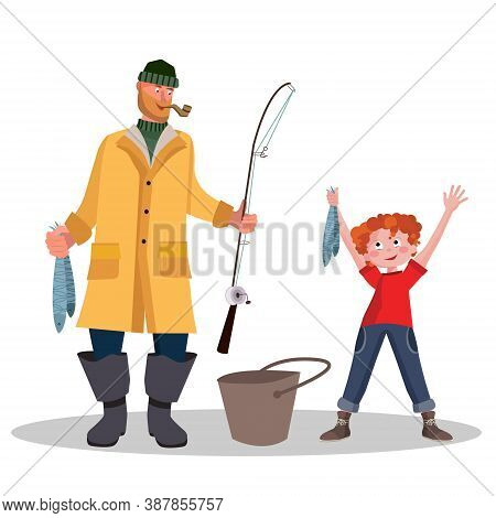 Father And Son With A Fishing Rod And Fish. Little Boy Fisherman. Fisherman On River Catching Trout.