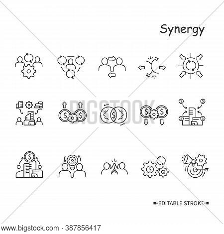 Synergy Line Icons Set. Human, Corporate, Marketing, Cost, Revenue, Operating Financial And Other Ty