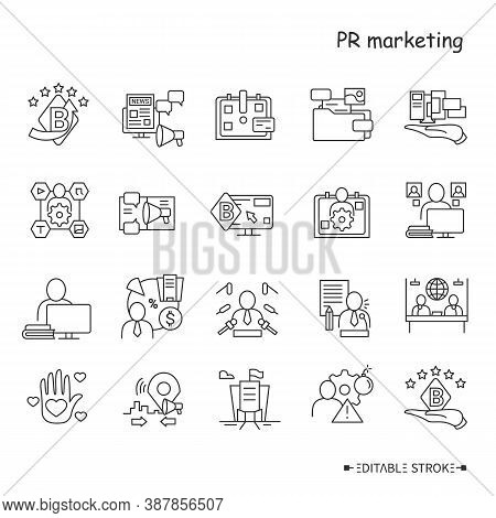 Pr Marketing Line Icons Set. Brand Image And Attributes. Public Relations Professionals, Corporate W