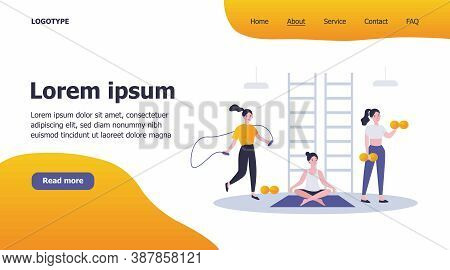 Woman Exercising In Fitness Club Or Gym, Practicing Weight Body Workout, Yoga And Cardio Training, J