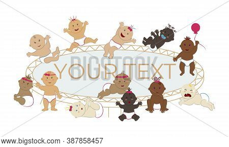 Vector Illustration Of Multinational Babies Jumping On A Trampoline. Happy Naked Toddler Boys And Gi