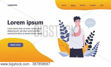 Young Man Showing Shh Or Stop Talking Gesture, Keeping Secret And Conspiracy. Flat Vector Illustrati