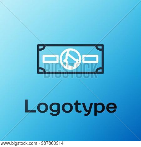Line Stacks Paper Money Cash Icon Isolated On Blue Background. Money Banknotes Stacks. Bill Currency