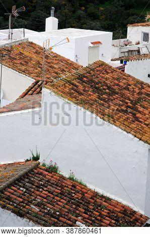 Townhouse Rooftops In Pueblo Blanco, Casares, Cadiz Province, Andalucia, Spain, Western Euorpe.