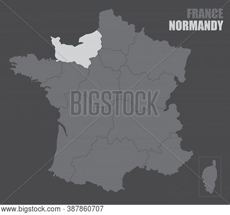 The France Map With The Highlighted Normandy Region