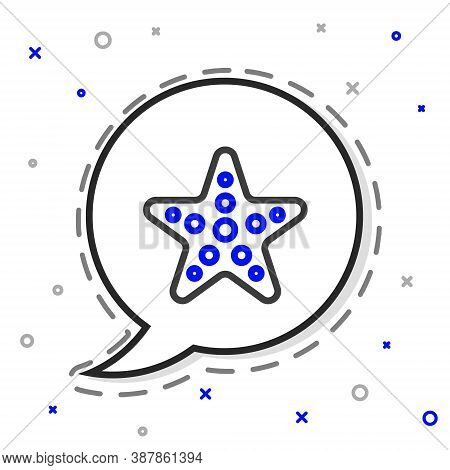 Line Starfish Icon Isolated On White Background. Colorful Outline Concept. Vector Illustration