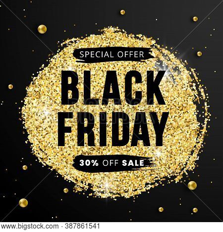 Sale Black Friday Banner 30 Percent Off With Glossy Glitter Sparkles And Golden Beads On Black Backg