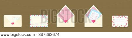 Post Card And Envelope Set. Isolated Hand-drawn Postal Cards And Envelopes With Post Stamps. Vector