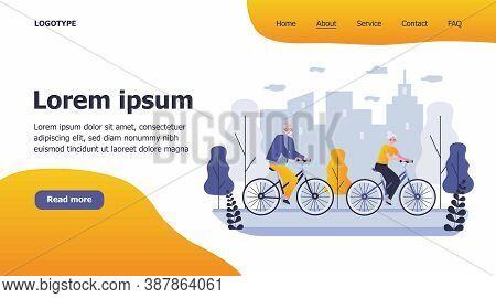 Happy Senior Couple Riding Bikes. Cycling In City Park, Retirement Activity Flat Vector Illustration