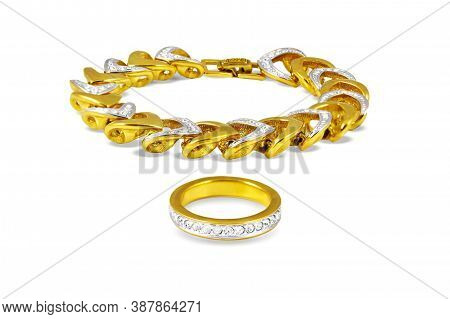 Gold Bracelet And A Finger Ring With White Platinum And Small Diamonds. Isolated On White.