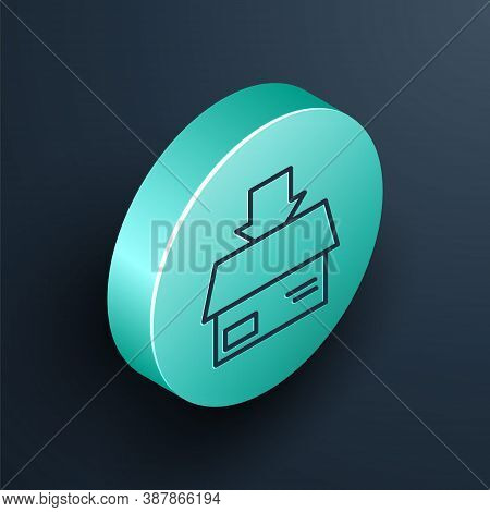 Isometric Line Carton Cardboard Box Icon Isolated On Black Background. Box, Package, Parcel Sign. De