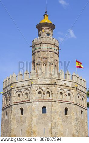 Torre Del Oro, Seville, Spain. Military Watchtower Erected In Order To Control Access To Seville Via