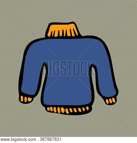 Cozy Clothes: Blue Pullover. Color Doodle Style Graphic Elements