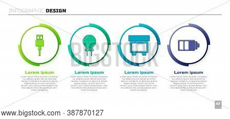 Set Usb Cable Cord, Light Emitting Diode, Fuse And Battery Charge Level Indicator. Business Infograp