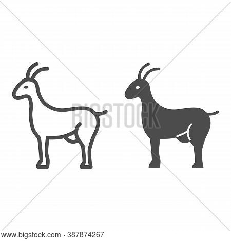 Goat Line And Solid Icon, Livestock Concept, Nanny-goat Sign On White Background, Goat Figure Icon I